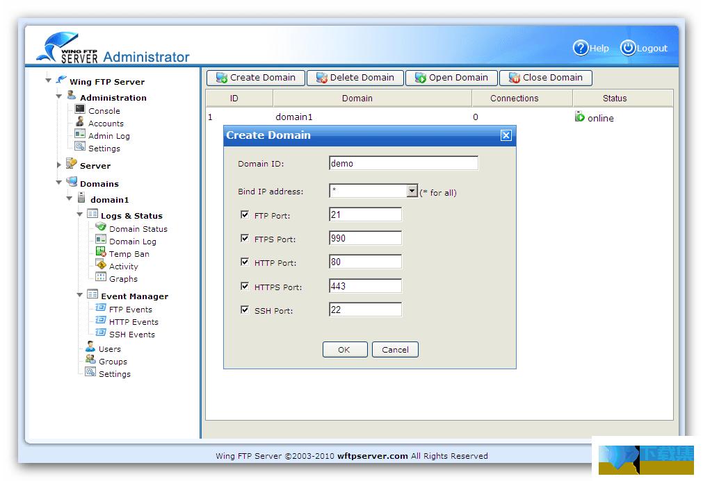 Wing FTP Server界面
