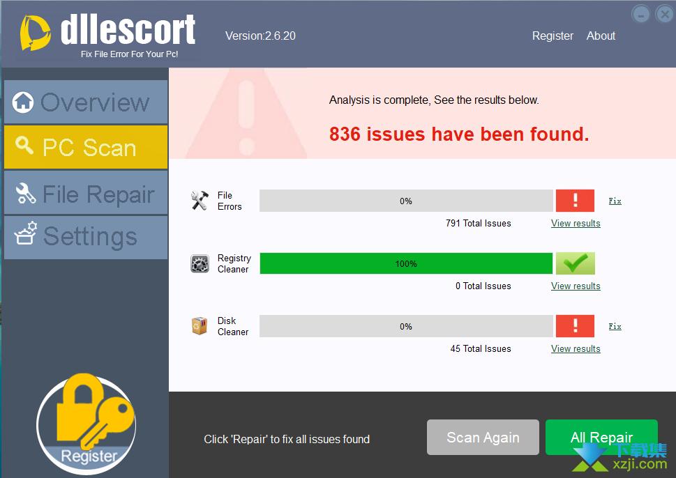 DLLEscort修复界面